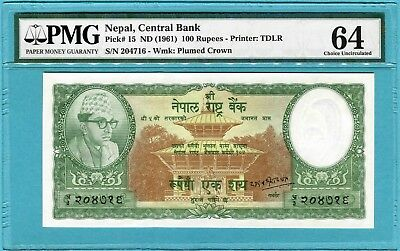 Nepal 100 Rupees P15 ND(1961) UNC (sign 8) PMG 64