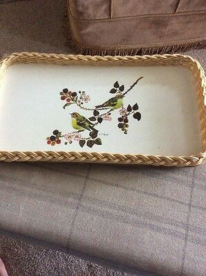 Vintage/retro Small Serving Tray Two Birds On Branches With Basket Weave Edge
