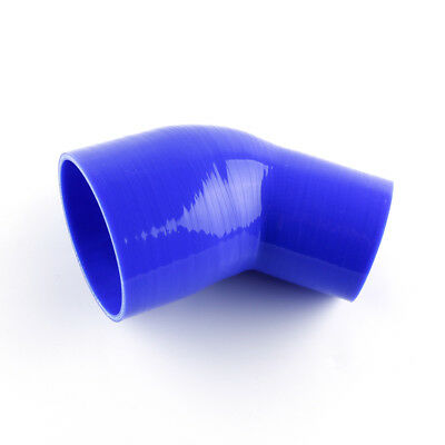 """3.25/"""" To 4/""""Inch ID83-102mm 45 Degree Hose Turbo Silicone Elbow Coupler Pipe BLUE"""