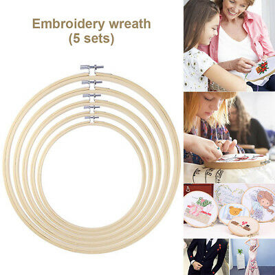 5 Pieces Round Embroidery Hoop Set Bamboo Circle Cross Stitch Hoop Ring