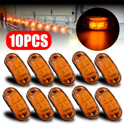 10PCS Amber 2 LED Light Oval Clearance Trailer Car Truck Side Marker Tail Lamp