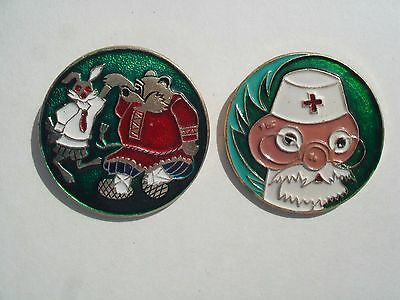 Cartoon RUSSIAN Rare Vintage LOT 2 BIG Enamel METAL PIN BADGES Pins Badge Comic