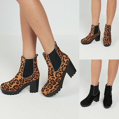 New Womens Ladies Studded Chelsea Ankle Low Mid Block Heel Winter Boots Size 3-8