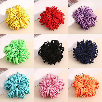 100pcs Girl Ponytail Hair Holder Baby Thin Elastic Rubber Band Kids Hair Tie NEW