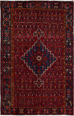 "Hand-knotted Persian Carpet 4'0"" x 6'3"" Persian Vintage Traditional Wool Rug"