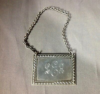 Vintage Kirk Sterling Silver Bottle Decanter Flask Hanging Label Tag Mono LER