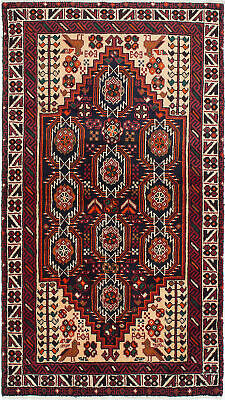 "Hand-knotted Persian Carpet 3'3"" x 6'1"" Traditional, Tribal Wool Rug"