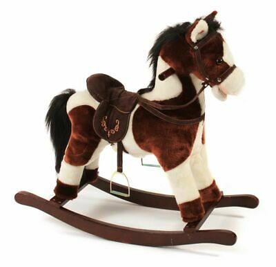 Chic Jacky Rocking Horse, Brown with White Stains, 46 Cm