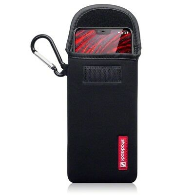 Nokia 6.1 Plus Shocksock Neoprene Soft Pouch Case with Carabiner in Black
