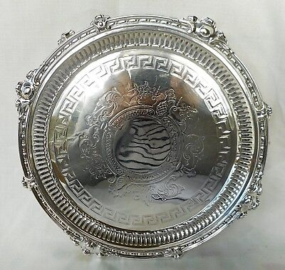 Antique Heavy Sheffield Plate Salver / Decanter Tray - Excellent Condition