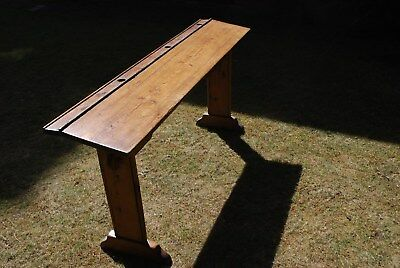 Nice Original 3 Seater Childrens Wooden School Desk With  3 Ink Well Spaces