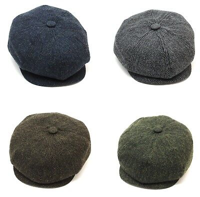 Tommy Shelby Peaky Blinders Newsboy Cap Herringbone Wool Blend 4 Colours Quality