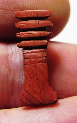 Zurqieh-As9405- Ancient Egypt, 19Th Dynasty, Red Jasper Djed Pillar Amulet