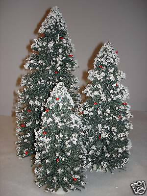 """Byers Choice Set of 3 Snow Covered Christmas Trees 8 12 16"""" Mint Tree Accessory"""