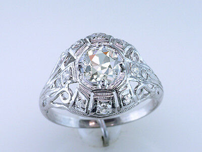 Antique Engagement Ring  EGL Certified .87ct H/SI1 Diamond Platinum Art Deco