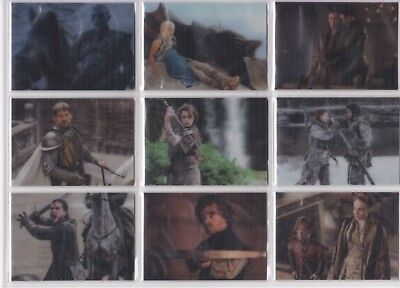 Game of Thrones Valyrian Steel L1-18 3D Lenticular Chase Card Set