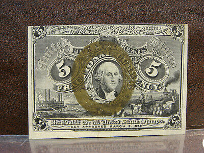 1863 2nd Second Issue 5 Cents Washington Fractional Currency Crisp Uncirculated
