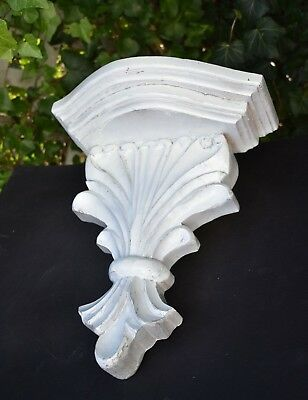 "Hand-Carved Corbel Shelf Antique Vtg Console Solid WOOD White 14"" Flush to Wall"