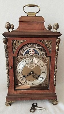 Bracket Clock English Antique Shelf Bracket Bell Strike Moon Phase Pendulum 39cm