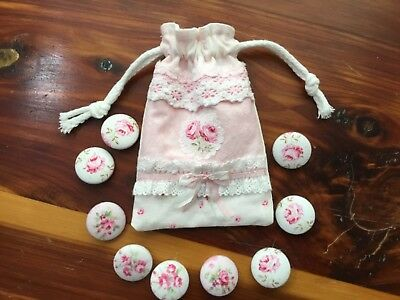 """Tiny HM pouch w/ 7/8"""" handcovered buttons Antique French Pink Rose Yuwas"""