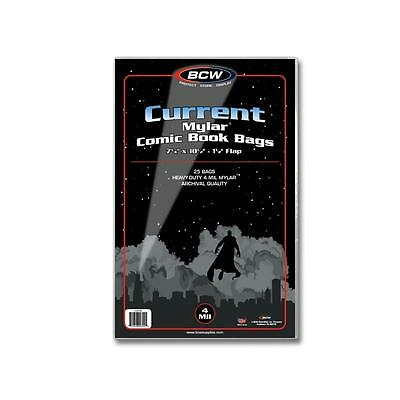 "Pack of 25 BCW Current Comic Book Mylar Bags 4 Mil 7.25x10.5 Archival  7/8"" flap"