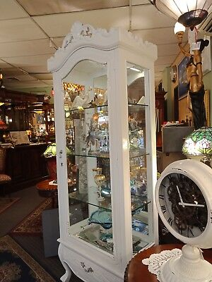 French White Wooden Display Cabinet Glass Shelves Mirror Back With Light