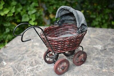 Vintage Old Toy Baby Carriage Buggy WICKER Wood Wheels Woven with Canvas Screen