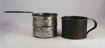 Lot of Two Antique Primitive Tin Kitchen Implements Sifter and Measuring Cup