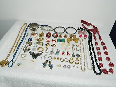 Lot of Vintage to Now Costume Jewelry Necklaces Clip On Earrings Brooch Pin #4
