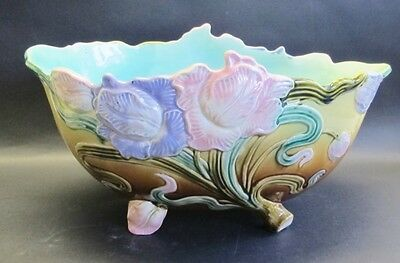 "Antique 15"" FRENCH ART NOUVEAU Majolica Faience Center Bowl  c. 1900  MINT  vase"
