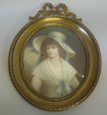 Fine Signed EUROPEAN PASTEL PAINTING of Young Maiden c. 1880  Gilt Metal Frame