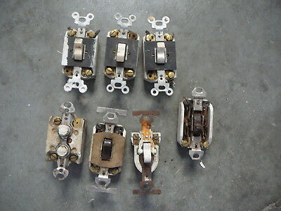LOT of 7 - ANTIQUE SALVAGED PORCELAIN BOXED SWITCHES PUSH & FLIP BRYANT etc