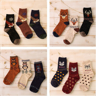 3 Pairs/Pack Mens Combed Cotton Socks Cute Animal Novelty Funny Casual Sock AU