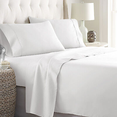 New Super Soft 100% Egyptian Cotton 1800 Count 4 Piece Deep Pocket Bed Sheets