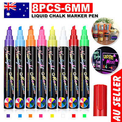 8x  Dual Nib 6mm Pen Marker Neon Liquid Chalk Blackboard Glass Window Pens