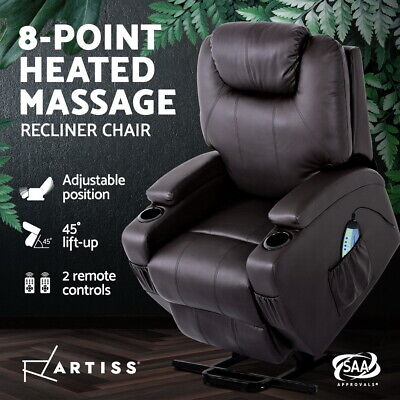 Artiss Electric Massage Chair Recliner Sofa Lift Motor Armchair Heating Leather