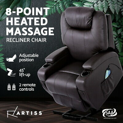 Artiss Electric Recliner Lift Chair Massage Chairs Leather Sofa Lounge Heated
