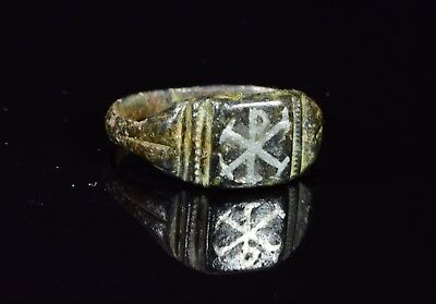 Ancient Byzantine Bronze Ring With Niell0 Inlay Chi-Rho (Christogram) - T70