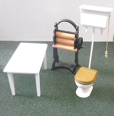 Dolls House Furniture  Kitchen Table Mangle And Toilet  1:12 Scale Used