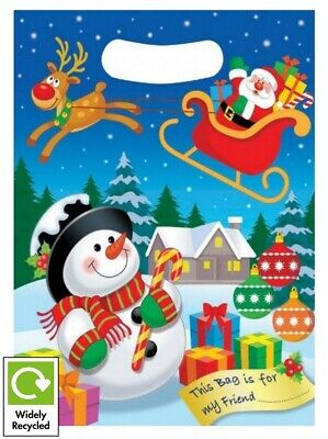 Christmas Cartoon Santa Snowman Party Bags - Recyclable Loot Treat Goody Bag