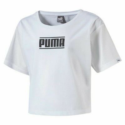 Puma Kids Style Tee Girls Cropped Top T Shirt White 594963 02 RW85