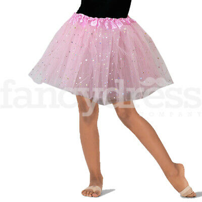 Light Pink Star Sequin Ballet Ballerina Tutu Skirt Girls Fancy Dress Costume NEW