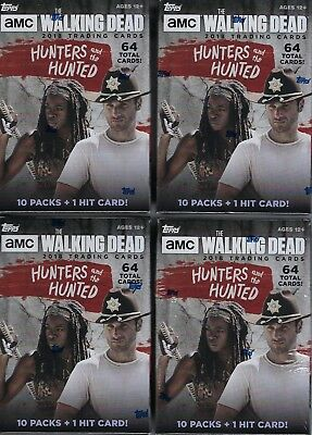 (4) 2018 Topps The Walking Dead Hunters & The Hunted Cards Blaster Box LOT