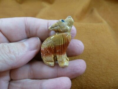 (Y-COY-14) tan red COYOTE wolf wild dog carving SOAPSTONE stone PERU FIGURINE