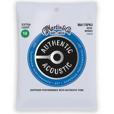Martin 3 Pack MA170PK3 m170 MA170 Acoustic Guitar Strings Bronze 10 - 47