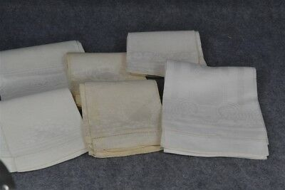 towels damask huck lot 6 sz 18x31 white 15x24 old new stock antique vg