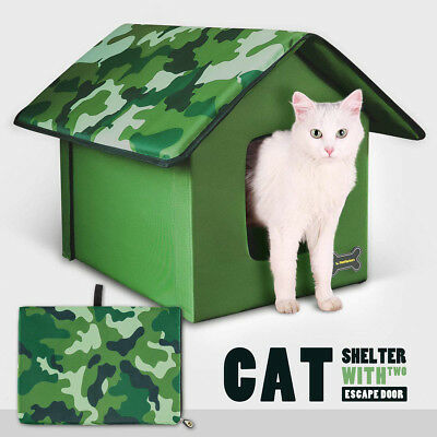 Outdoor Self Heated Cat House Weatherproof Warm Self-heating Pet House for Cats