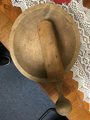 """Antique 9x8 Large WOODEN mortar and pestle / bowl 10""""tool"""