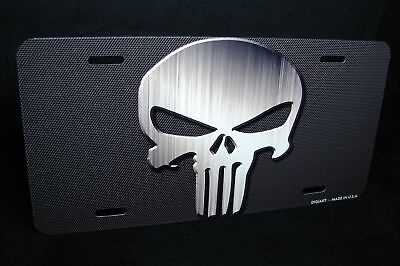 Punisher Skull License Plate Tag For Cars Suv Aluminum Metal