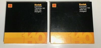 Lot of 2 Kodak Carousel 140 Slide Trays w Instruction Cards and Number labels